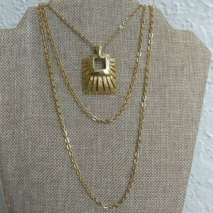 Jewelry - Gold tone multi strand necklace with pendant